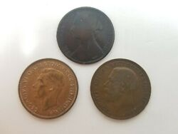 Lot Of 3 Great Britain One Penny Coins 1877, 1921, 1948 Km 755, 810, 845