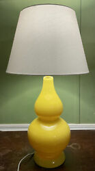 Large Safavieh Table Lamp Yellow Double Gourd Glass White Shade Excellent Shape