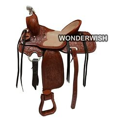 Dual Tone Brown Leather Western Horse Barrel Saddle With Headstall And Breastplate