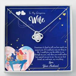 To My Wife My Soulmate My Everything Wife Infinity Knot Necklace Keepsake Messag