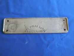 Vintage Small Boat Outboard Motor Mounting Safety Plate 2