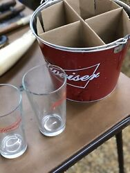 Nib Budweiser Beer 20 Piece Ice Bucket Gift Set Coasters Glasses Father's Day