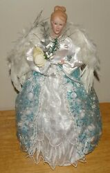 14blue Angel Tree Topper, Hand Painted 7.5 Wide White Feathered Wings Euc