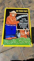 Old Vintage Dated 1964 Smokey The Bear Porcelain Gas Pump Sign Prevent Wild Fire