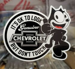 New Felix Cat Black Chevy Look But Do Not Touch inside the Glass Die Cut Decal