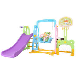 5 In 1 Kids Indoor And Outdoor Slide Swing And Basketball Football Baseball Set.
