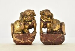 Pair Antique Chinese Red And Gilt Wood Carved Statue Of Fu / Foo Dog Lion 19th C