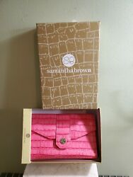 Samantha Brown Pin Faux Crocodile Cell Phone Wallet w Charging Opening 2 Straps $30.00