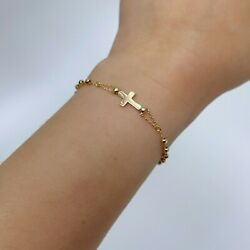 """14k Gold Cross And Lady Guadalupe With Dia Cut Balls Rosary Bracelet 7.5"""""""