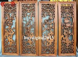 Chinese Camphorwood Four Seasons Flowers Wall Hanging Wood Tablet Plaque Board