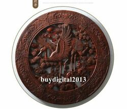 Camphorwood Pine Tree Red-crowned Crane Wall Hanging Wood Tablet Plaque Board