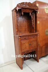 Rosewood Palisander Handcarved Wood Niche For Buddha Kwan-yin God Of Wealth