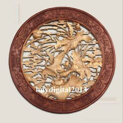 Basswood Lotus Flower Red-crowned Crane Wall Hanging Wood Tablet Plaque Board