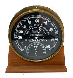 Vintage Abbeon Cal Hygrometer And Temperature Indicator West Germany W/ Wood Base