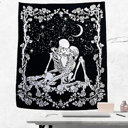 Maeple Skull Tapestry Wall Hanging Kissing Lovers Wall Tapestry for Bedroom Bla