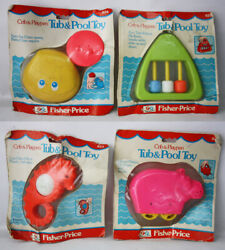 4x Rare Vintage 1978 Fisher Price Sam The Clam Gus Hippo Tub N Pool Toy New