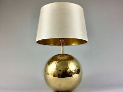 20th Century Large Gold Ball Globe Table Lamp Bedside Brass Hollywood Regency