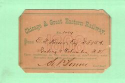 1866 Chicago Great Eastern Reading Columbia Agent Railroad Railway Rr Rwy Pass
