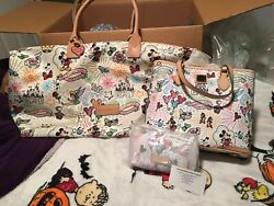 Disney Dooney And Bourke Sketch Parks Weekender Euc / Nwts Toteand Cosmetic Bag