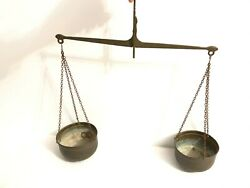 Antique Brass Bronze Hanging Scale Balance Weight Mercantile Trade Scales