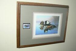 Ducks Unlimited Penn. Framed Print 1989 Numbered Signed R J Lougue Stamp Cac