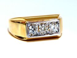 .85ct Natural Three Stone Masculine Pave Beaded Flat Deck Mens Ring 14kt
