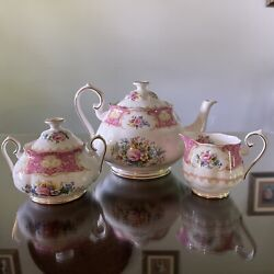 Royal Albert Lady Carlyle Teapot, Creamer And Sugar Bowl With Lid