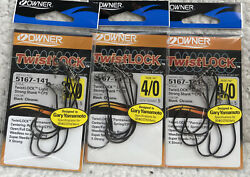 3 Owner Twistlock 4/0 Light Strong Shank With Cps Black Chrome 3/pack M4r