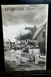 D4192,real Photo,grass Valley Ca July 4th Parade Postcd Native Sons Float 1909