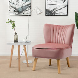 Costway 2 Pieces Accent Chairs And End Table Set Armless Velvet Sofa And Round Table