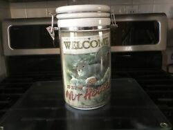 """Wild Wings Art Lidded Ceramic Canister Jar """"welcome To The Nut House"""" Squirrels"""