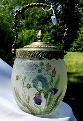 Antique Enameled Glass And Stamped Ornate Metal Candy Cookie Jar Basket