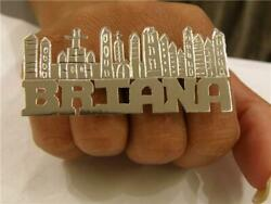 Solid Metal 925 Sterling Silver Menand039s Personalize Word Two Finger Ring Free Stud