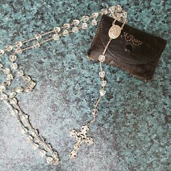 Vintage Sterling Silver Crystal Rosary Leather Bag 27 Long Free Shipping