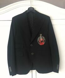 Andeuro2350 Dolce And Gabbana Black Guitar-embroidered Wool Blazer Jacket Made In Italy