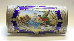 Antique Multi Colored Romeo And Juliet Sitting By Tree Open Box Sterling Silver