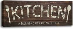 Vintage Kitchen Sign Wall Decor Canvas Print Sign Wood Background Patterned, Rus