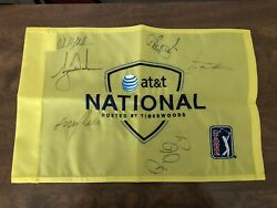Atandt National Flag Autographed By Tiger Woods Phil Mickelson Rory Mcilroy +more