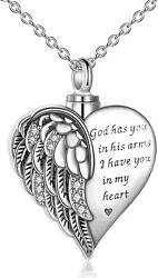 Sterling Silver Guardian Angel Wing Heart Pendant Urn Necklace Cremation Jewelry
