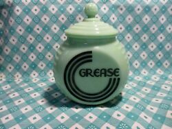 Jadeite Green Glass Black Letter Art Deco Grease Jar And Lid / Excellent Condition