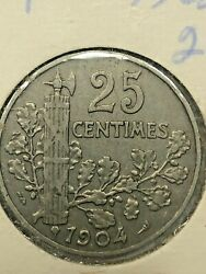 1904 France 25 Centimes Coin 204