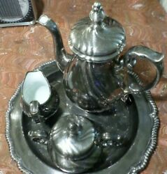 Silver Plated With Enamel Interior Antique Tea Set With Platter. 6 Items.