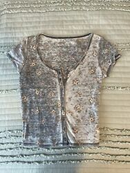 American Eagle Button Down Scoop Neck Tshirt Thin Floral Print Small Waffle Knit