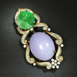 Vintage Green And Lavender Jade Brooch Pin With Diamonds 14k Two-tone Gold