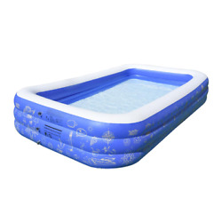 Rectangle 22 In. D Inflatable Pool With Air Pump Pvc Outdoors 9.75 Ft. X 5 Ft.