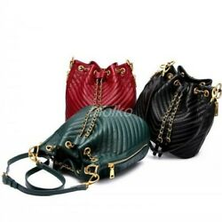 Womens Leather Bucket Bag Black Red Crossbody Shoulder Purse Striped Sling bags $127.99