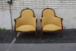 19th C. Pair Of French Louis Xvi Beech Wood Livingroom Chairs New Upholstery