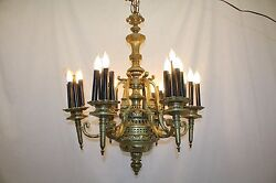 Antique French Bronze Chandelier Ceiling Light Fixture W/ Torchiere Armsrewired
