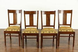 Set Of 4 Arts And Crafts Mission Oak Antique Craftsman Dining / Game Chairs 37479