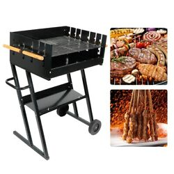 Lamb Roasting Machine Stainless Steel With 2 Wheels Adjustable Bbq Grill For